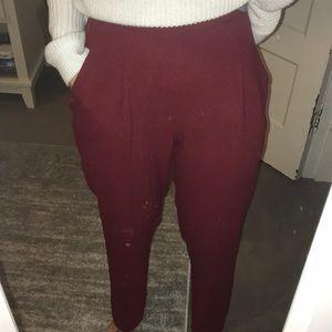 Maroon crepe pants